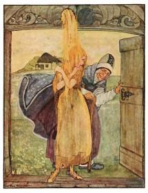 There are 700 local variations of this tale. The illustration of the good sister being showered with gold comes from the Grimm Bros version of the tale. It is by Dutch artist Rie Cramer and comes from an edition of the tales published in 1927.