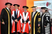 Vice-Chancellor Professor S. Bruce Dowton joins honorary doctorate recipients Senator the Honorable Bob Carr and His Excellency Dr Marty Natalegawa, with Chancellor The Hon Michael Egan and Deputy Chancellor Elizabeth Crouch [1246K].