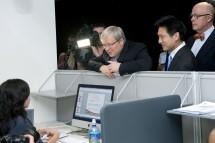 Prime Minister Kevin Rudd visits researchers at the Australian Hearing Hub. Photo: Effy Alexakis.