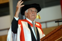 The Honourable Robert J Hawke gave the occasional address at a Faculty of Arts graduation ceremony today. (3.4MB) Photo: Effy Alexakis.