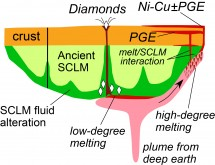 "Image: Bill Griffin. The sub-continental lithospheric mantle (SCLM) makes up the ""roots"" of the oldest continents, down to 150-250 km. Over the 3 billion years since they formed, the margins of SCLM blocks have been chemically ""refertilized"", and they effectively control the location of many types of ore deposits."