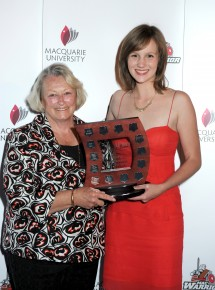 Elisa Barnard receives the Female Athlete of the Year Award from Denise Osmand. Photo: Effy Alexakis.