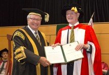 Professor Ron McCallum with  The Hon Michael Egan AO, Chancellor of Macquarie University. Credit: Chris Stacey