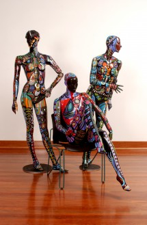 'Three Graces' by Bronwyn Bancroft. 2005. Acrylic store mannequins painted with acrylic. Photo credit: Effy Alexakis