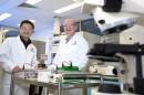 Associate Professor Dayong Jin with Minomic CEO Dr Brad Walsh