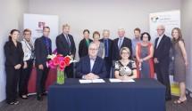 Representatives of the Australian Hearing Hub, Macquarie University and the Sydney Children's Hospitals Network sign a new memorandum of understanding. Credit: Ronny Ibrahim