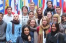 Suna Ozcan (front row, left) and other students visit the European Court of Human Rights in Strasbourg, France.
