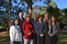 Macquarie researchers Michelle Leishman, Lesley Hughes and Leigh Staas (front row) with Western Sydney University consortium members Nisha Rakhesh, Ian Anderson and David Thompson (left to right)