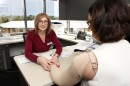Louise Koelmeyer, Lymphoedema Program Manager treats a patient with BCRL. Credit: Isabella Lettini Photography