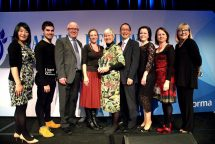 The team from PACE receive their award at the AFR Higher Education Awards.