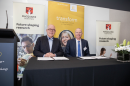 Macquarie's Vice-Chancellor Professor S. Bruce Dowton (left) and Cochlear's President Dig Howitt (right). Image credit: Jo Stephan, Macquarie University