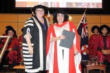 Wendy Harmer receiving her Honorary Doctorate