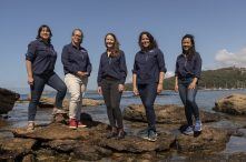 Living Seawalls team L-R: Dr Aria Lee (Research Assistant), Associate Professor Melanie Bishop (Co-Leader), Dr Katherine Dafforn (Co-Leader), Dr Mariana Mayer Pinto (Co-Leader) & Dr Maria Vozzo (Project manager).