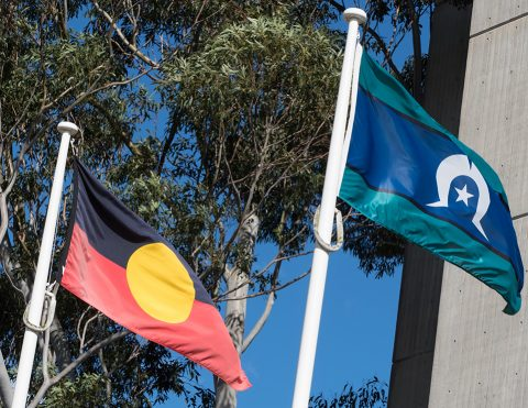 The Australian Aboriginal Flag and the Torres Strait Islander Flag Outside W3A