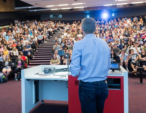 Students in lecture theatre, O Week 2017